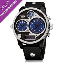 OHSEN Luxury Unique Small Dial Designer Sports Men Dual Time Watch Waterproof 5bar Blue dial Quartz Military Oversized Big Watch