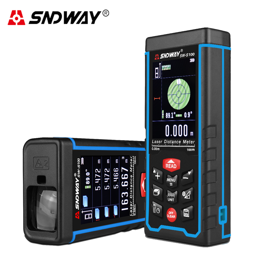 SNDWAY High precision 100M Digital Laser rangefinder Rechargeable rangefinder Color display Finder distance meter tape measure