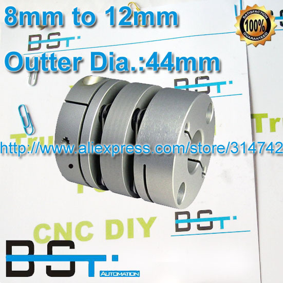 BSTMOTION двойная дисковая муфта OD: 44 мм Размер вала: 8 мм до 12 мм для шарикового винта и вала двигателя