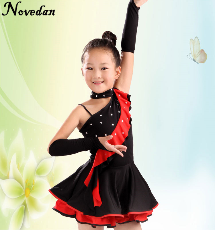New Professional High Quality Rhinestone Crystals Unequal Ballroom Latin Salsa Dance Dress Costume For Girls
