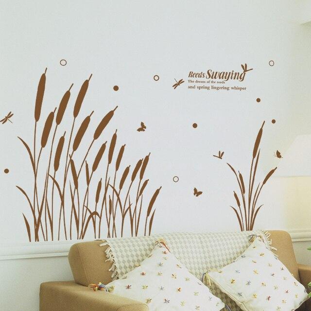 SHIJUEHEZI Reed Grass Swaying Wall Sticker Jungle Butterflies - Wall decals grass