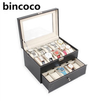 Hot Selling New And Fashion High Grade Black Leather Watch Display Box Slot Case Jewelry Storage