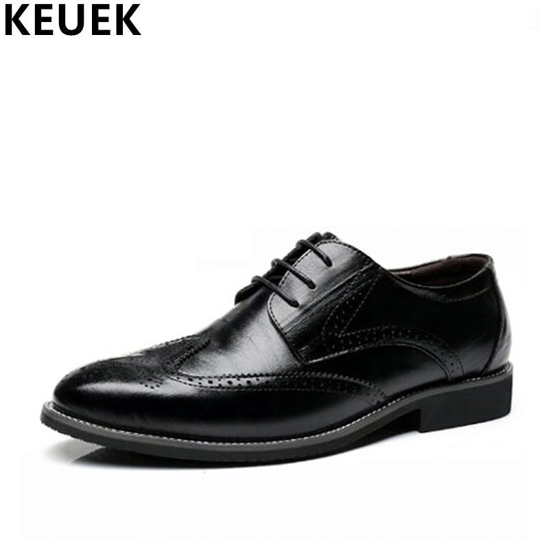 Plus Size 38-48 Luxury Vintage Men Brogue shoes Genuine leather Male Flats Dress shoes Lace-Up Pointed Toe Oxford Derby Shoes 3A hot sale mens genuine leather cow lace up male formal shoes dress shoes pointed toe footwear multi color plus size 37 44 yellow