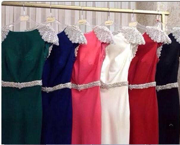 free shipping robe de soiree new hot sexy backless sleeves vestido de festa longo crystal Formal party gown   bridesmaid     dresses