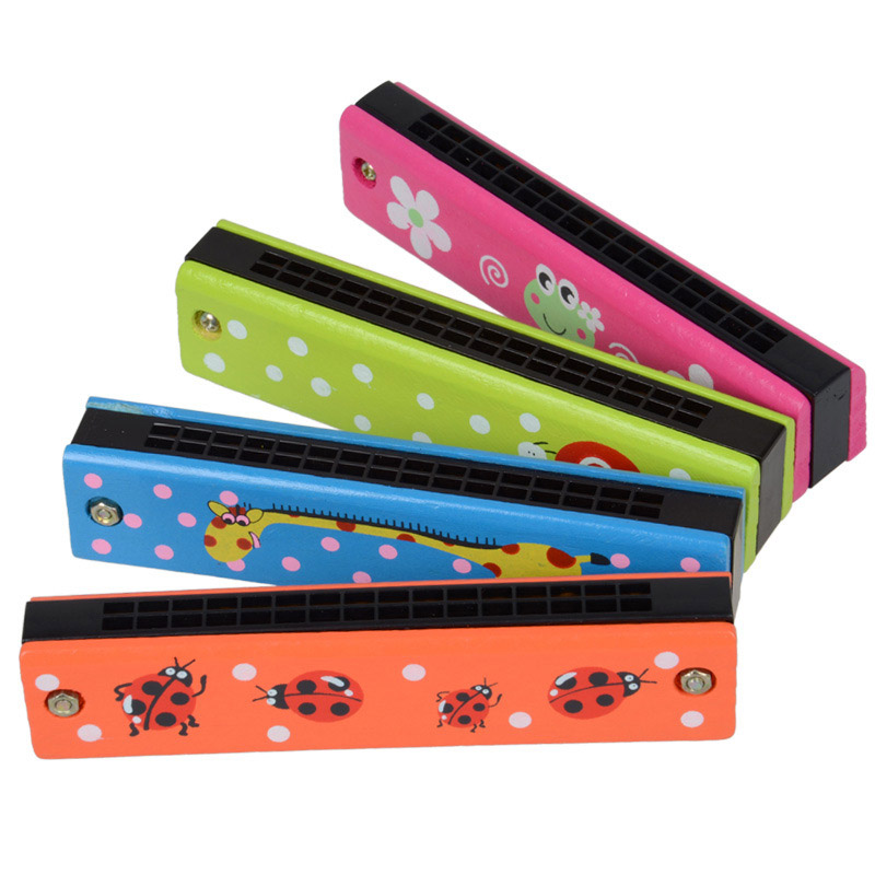 1 Piece 13CM Kids Cute Flower Wood Plastic 16 Holes Harmonica Toy Fun Double Row Musical Early Educational Toy Random Color
