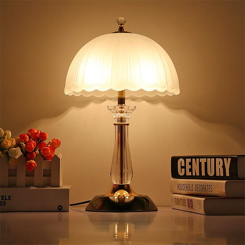 American Country Fashion Crystal Milk White Glass Led E27*2 Table Lamp for Living Room Bedroom Bedside AC 80-265V 1306