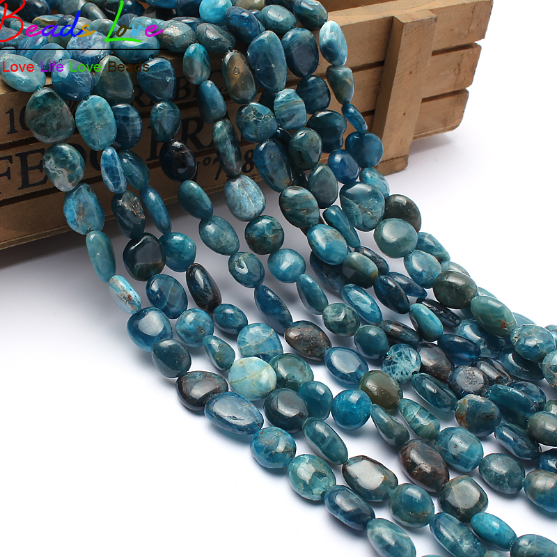 8-10mm Natural Shaped Stone Genuine Blue Apatite Beads For Jewelry Making 15inches Irregular Natural Stone Beads Free Shipping