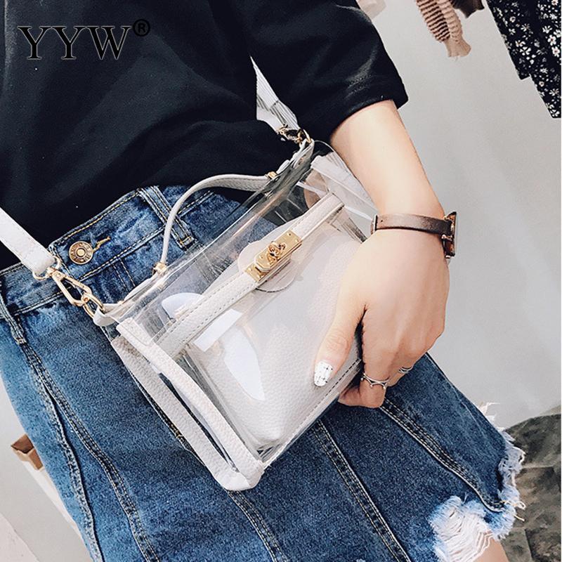 Women Transparent Bags Clear Pu Messenger Bags Jelly Bag For Girl Totes Hand Bag Casual 2 Pcs Bolsa Feminina Shoulder Purse 2019Women Transparent Bags Clear Pu Messenger Bags Jelly Bag For Girl Totes Hand Bag Casual 2 Pcs Bolsa Feminina Shoulder Purse 2019