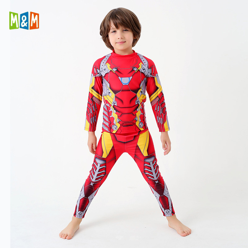 Dutiful M&m Chirldren Long Sleeve Iron Man Swimsuit Two Piece Boys Swimwear New Brave Boy Diving Suit Long Legs Beach Wear Bathing Suits Sports & Entertainment