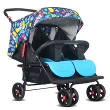Multi-function can enter the elevator twins baby carriages can be folded to sit can be lying double baby stroller shock wheel.