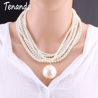 Tenande Statement Jewelry Joias Elegant Big Simulated Pearl Necklaces For Women Multilayer Bead Chain Necklaces Pendants