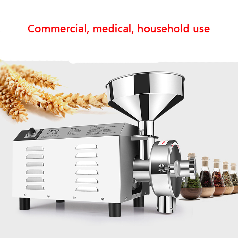 1500W Superfine Stainless Steel Grain Mill Grinder Commercial Herbal Medicine Pulverizer Dry Grinding Machine stainless steel commercial chinese herbal medicine grinder electric grinding maching pulverizer 220v 2200w 1pc