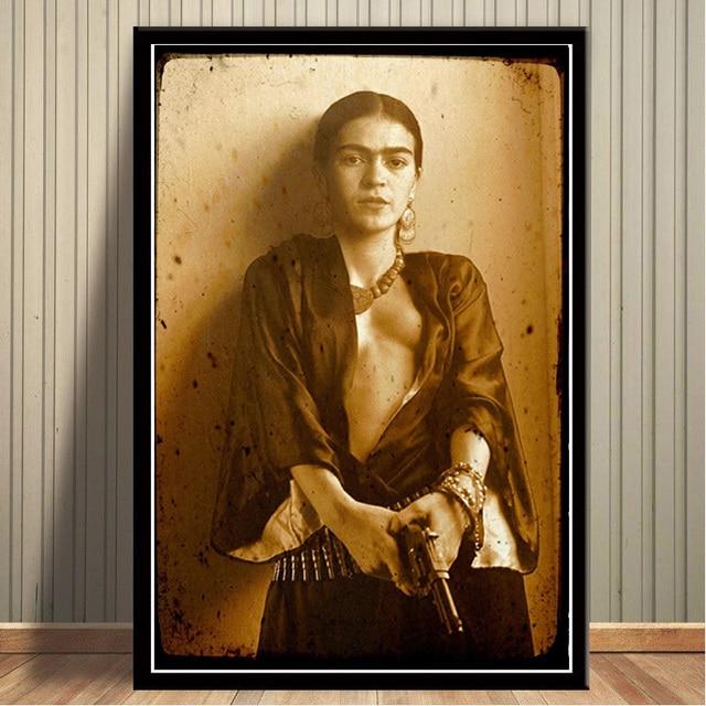 Mq3433 Frida Kahlo Mexican Self Portraits Painter With Gun Vintage