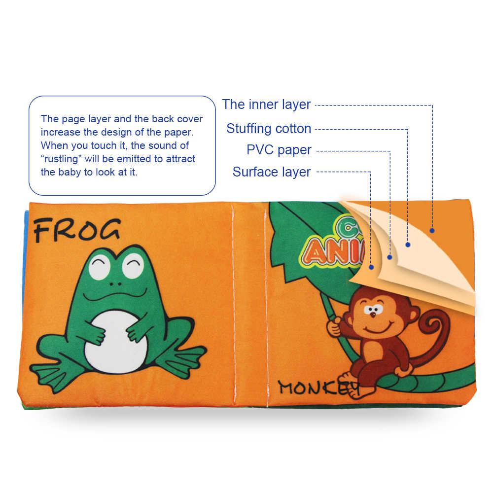 Coolplay livros de pano macio rustle som infantil livros tranquilos carrinho de criança educacional chocalho brinquedos para o bebê recém-nascido 0-12 mês}