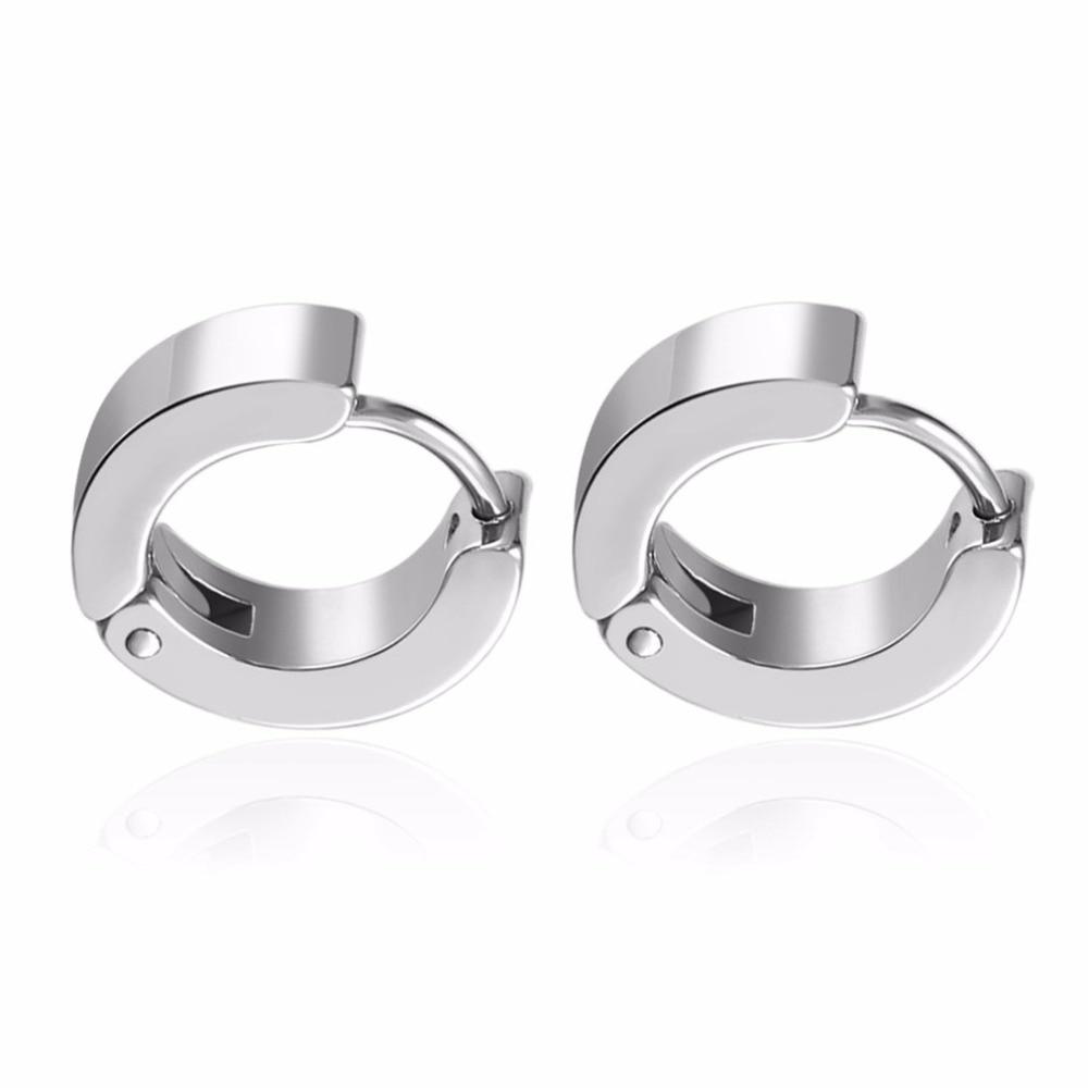 Chic 2 Pair/set Cool Punk Mens Stainless Steel Hoop Piercing Round Earring Ear Stud Men Jewelry