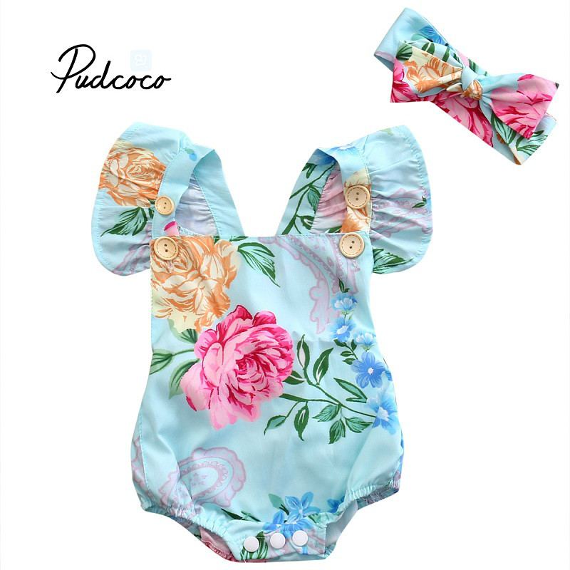 2018 Fashion Baby Girl Romper Newborn Baby Girl Floral Romper Jumpsuit Outfits Sunsuit
