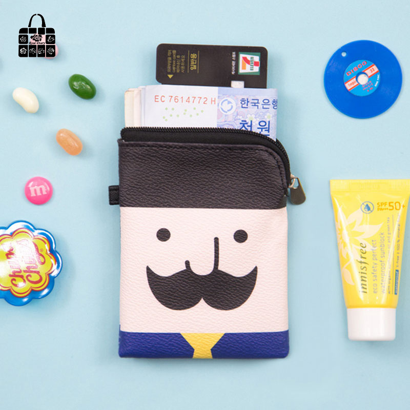 ROSEDIARY creative Mr Beard pu leather Waterproof women zero wallet child girl boy kawaii purse,lady coin bags wallets