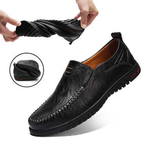 Loafers Men Sandals Moccasins Driving Flat-Shoes Slip-On Split-Leather Fashion QASDUO
