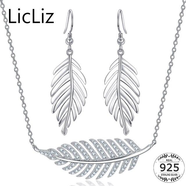 3db72036ce LicLiz CZ Jewelry Sets 925 Sterling Silver Set Earrings Necklace Pendants  Set Wedding Jewelry Leaf Jewelry