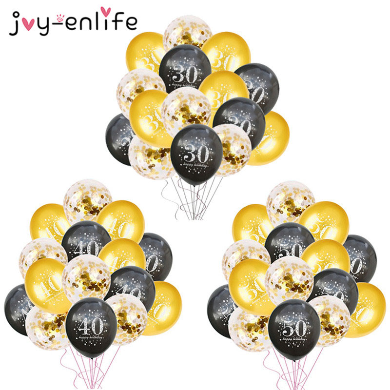 30 Birthday Party Decorations Adult 30 40 50 60 Years Decor Happy Birthday Banner Number Balloon Globos 50 Wedding Anniversary