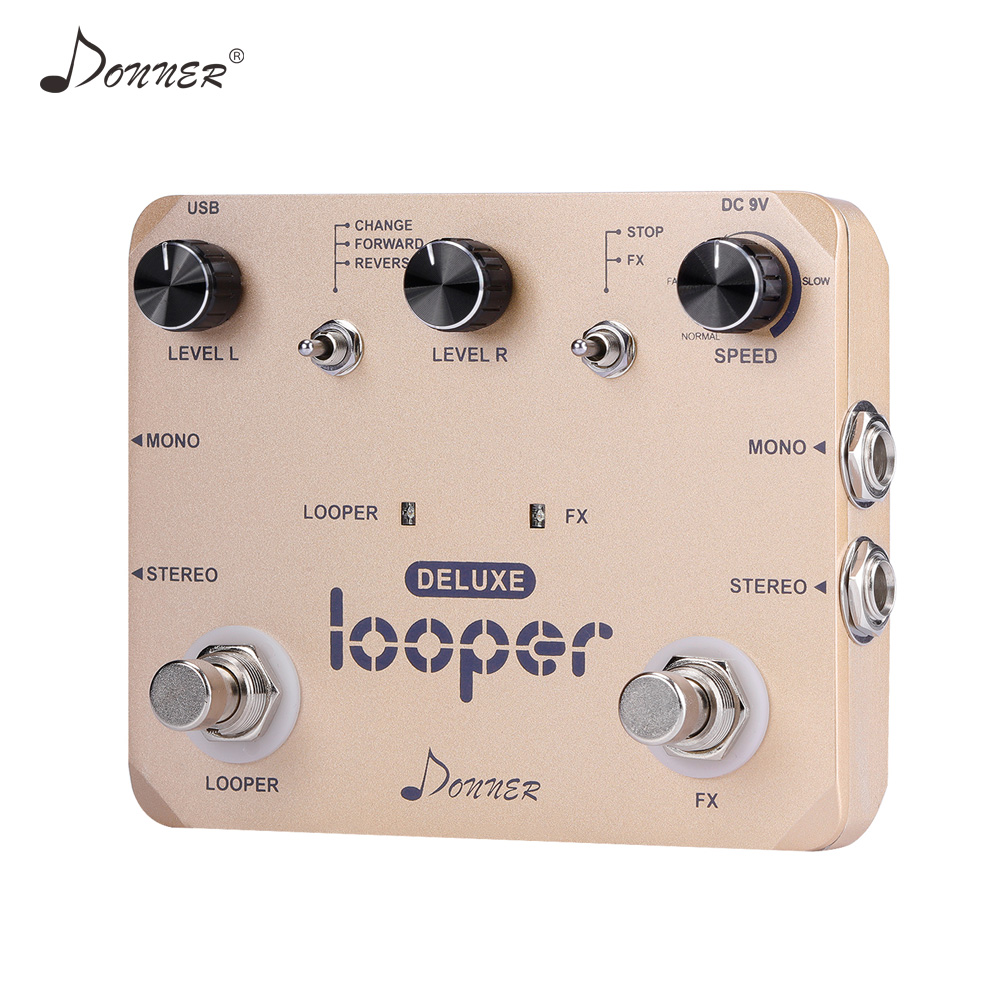 Donner Looper Pedal Guitar Effect Pedal Deluxe Twin Loop Pedals 10 Minutes Looping Time Unlimited Overdubs Guitar Accessories