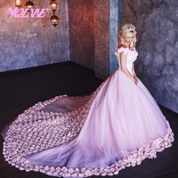 YQLNNE 2018 Pink Wedding Dress Bridal Gown 3D Flowers Ball Gowns Off the Shoulder Tulle Lace up Vestido De Noiva