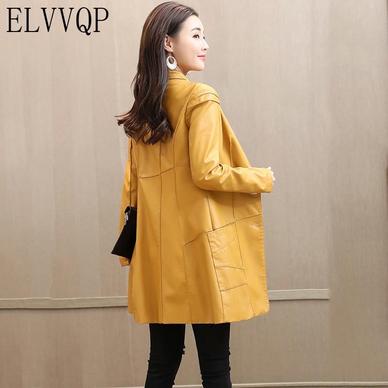 2018 New Fashion Autumn Women   Leather   Jacket Plus Size Long   Leather   Coat Girls Clothing Outerwear Female Windbreaker LF548