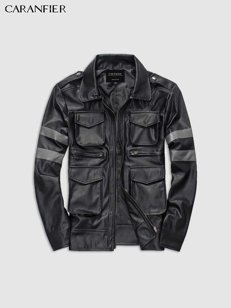 CARANFIER Mens Leather Jackets Business Casual Top Quality Soft PU Coats Turn-down Collar Multi-pocket Motorcycle Biker Overcoat