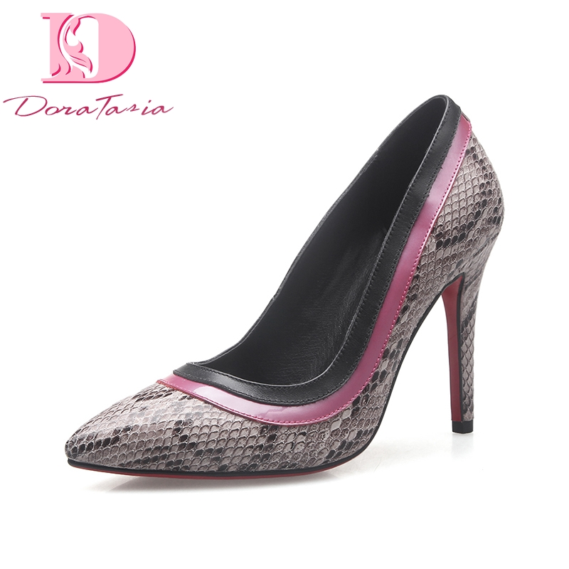 DoraTasia 2018 Sexy Snakeskin Leather Pointed Toe Thin High Heel Woman Shoes Party Wedding Women Summer Pumps brand shoes woman spring summer rainbow women pumps high heels fashion sexy slip on pointed toe thin heel party wedding shoes