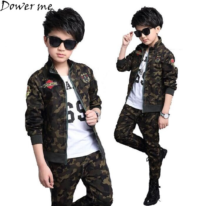 Boys Tracksuit 2018 Spring Children Clothing Sets Cotton Camouflage T-Shirt + Pants 2 Pcs Sport Suit Boy Clothes Set Costumes free shipping children clothing spring girl three dimensional embroidery 100% cotton suit long sleeve t shirt pants