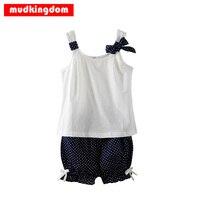 Mudkingdom Children Girl Outfits Sleeveless Tops Shirt Bowknot Polka Dot Shorts 2Pcs Summer Vest Navy Blue