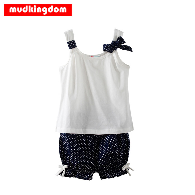 5883453ee35b5f Mudkingdom Children Girl Outfits Sleeveless Tops Shirt Bowknot Polka Dot  Shorts 2Pcs Summer Vest Navy Blue Red Kids Clothing Set