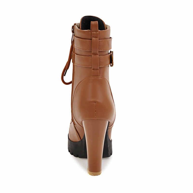 Dropshipping zapatos de tacón alto para mujer botas de encaje con plataforma de otoño invierno botas de mujer de gran tamaño zapatos de moda blanco negro marrón