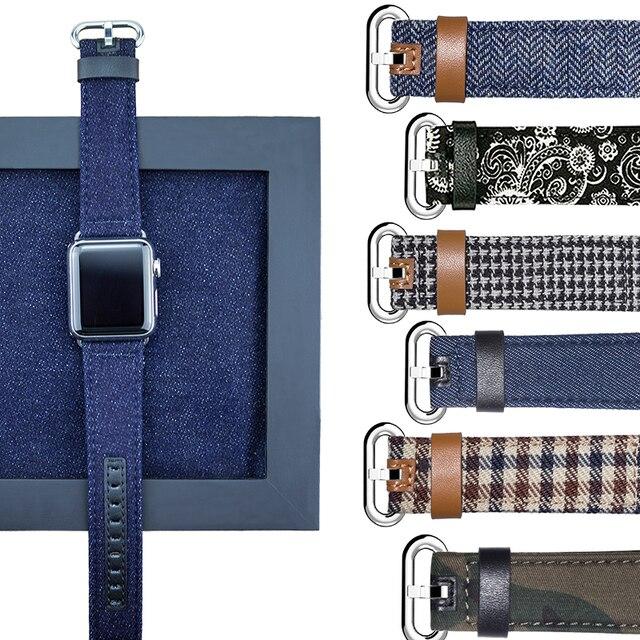 Ремешок для Apple Watch 42 мм 38 мм 40 мм 44 мм роскошный кожаный тканевый деним 1:1 ремешок для Apple iwatch Series 4 3 2 1 ремешок