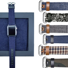 Pulsera para Apple Watch Band 42mm 38mm 40mm 44mm tela de cuero Denim 1:1 correa para Apple watch serie 1, 2, 3, 4 correa de moda(China)