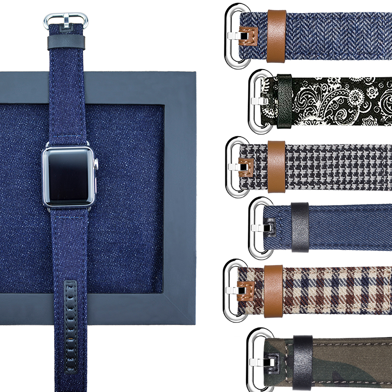 band for Apple Watch Band 42mm 38mm New Upscale Luxury Original Genuine Leather Fabric Denim 1:1 for iwatch Series 4 3 2 1 Strap