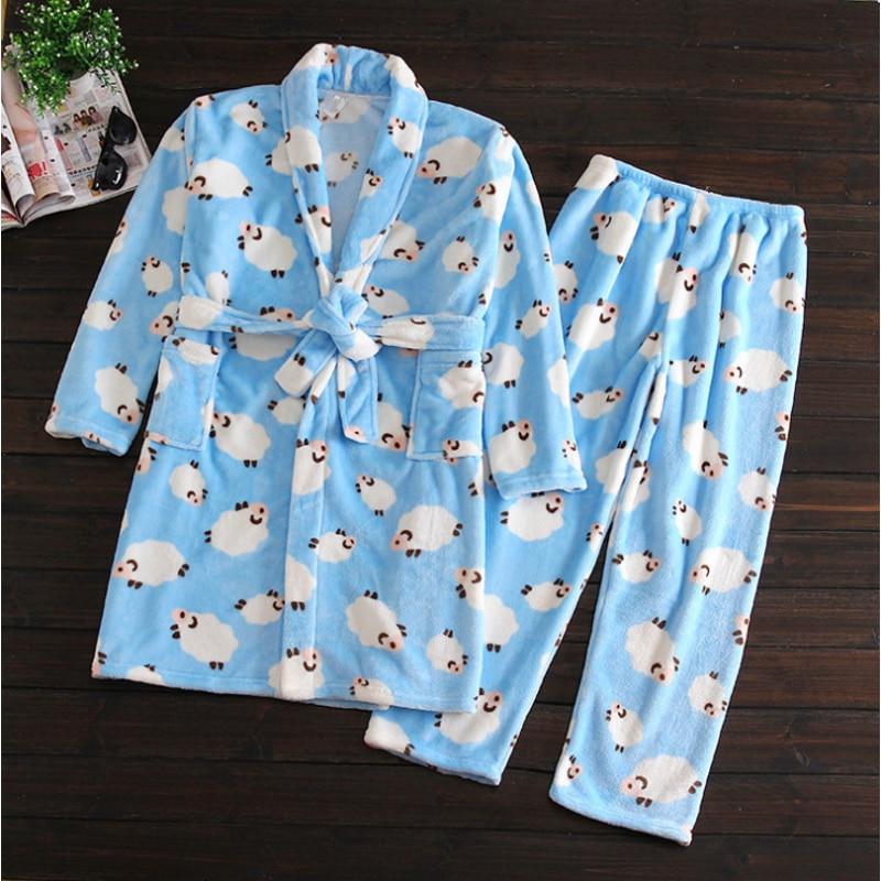 Winter   Pajama Sets Women Thicken Coral Fleece Sleepwear Suit With Belt Ladies Turn-Down V-Neck Collar Robe + Pants