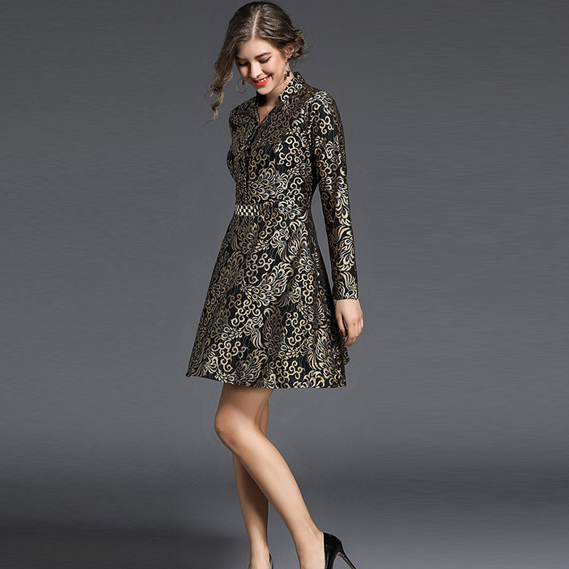 Winter Women Thick Warm Print Dress Full Sleeve Empire V-Neck A-Line Short Dresses Female Sweet Office Lady Party Dress
