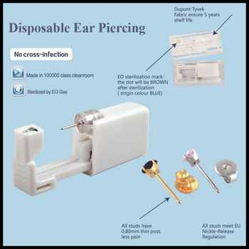 24pcs 316L Stainless Steel Disposable Safe No Pain Ear Nose Piercing Kit Sterile Ear Studs Piercing Gun Tool Piercer Jewelry