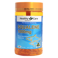 Australia Healthy Care Squalene 1000mg 200 Capsules for Improvement of general well being Healthy digestive function