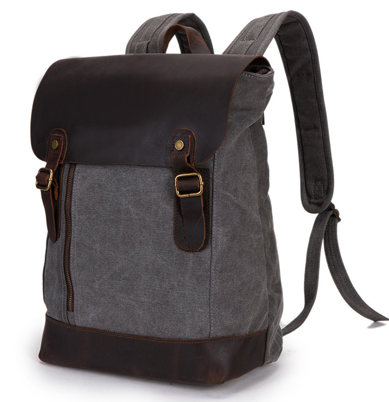 ФОТО leather canvas bags Backpack leather bag Men's Leather Backpack