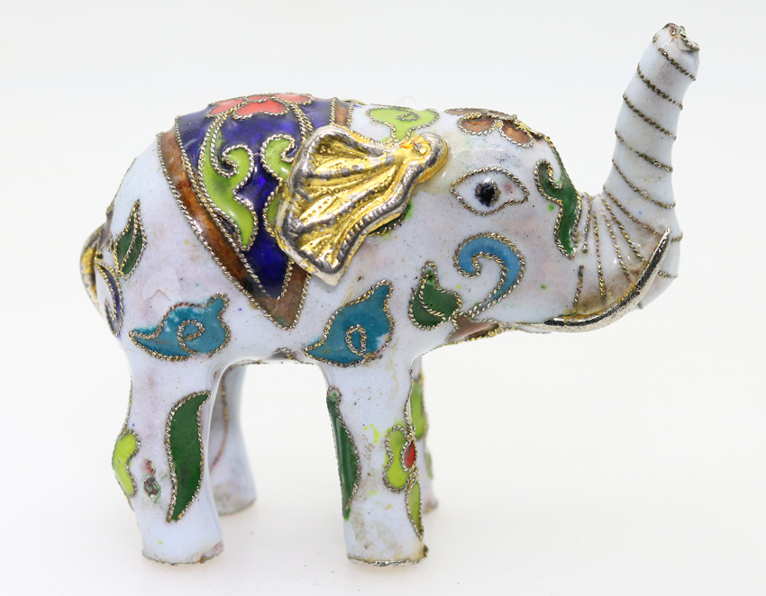 Chinese MiNi Ornament Cloisonne Enamel copper wire inlay white sapphire blue gold elephant small decoration 1pc H100