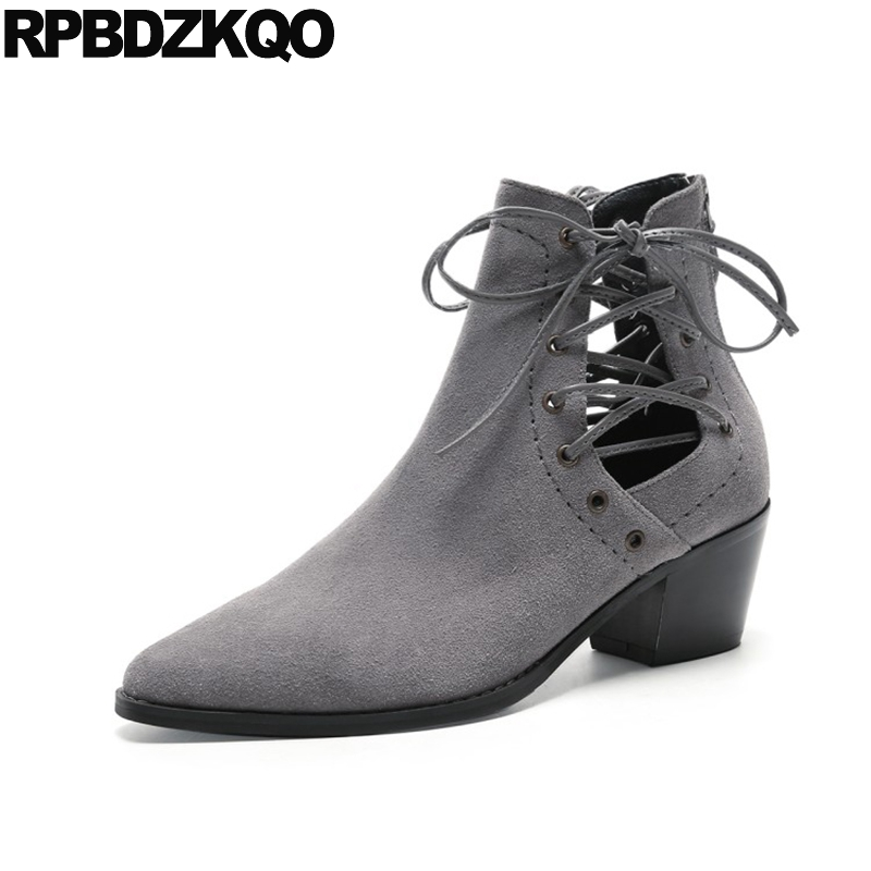 Women Ankle Boots Medium Heel Shoes High Autumn Suede Retro Lace Up Pointed Toe Booties Fall Chunky 2017 Grey Vintage Genuine nikbea vintage western boots cowboy ankle boots for women pointed toe boots winter 2016 autumn shoes pu chunky low heel booties
