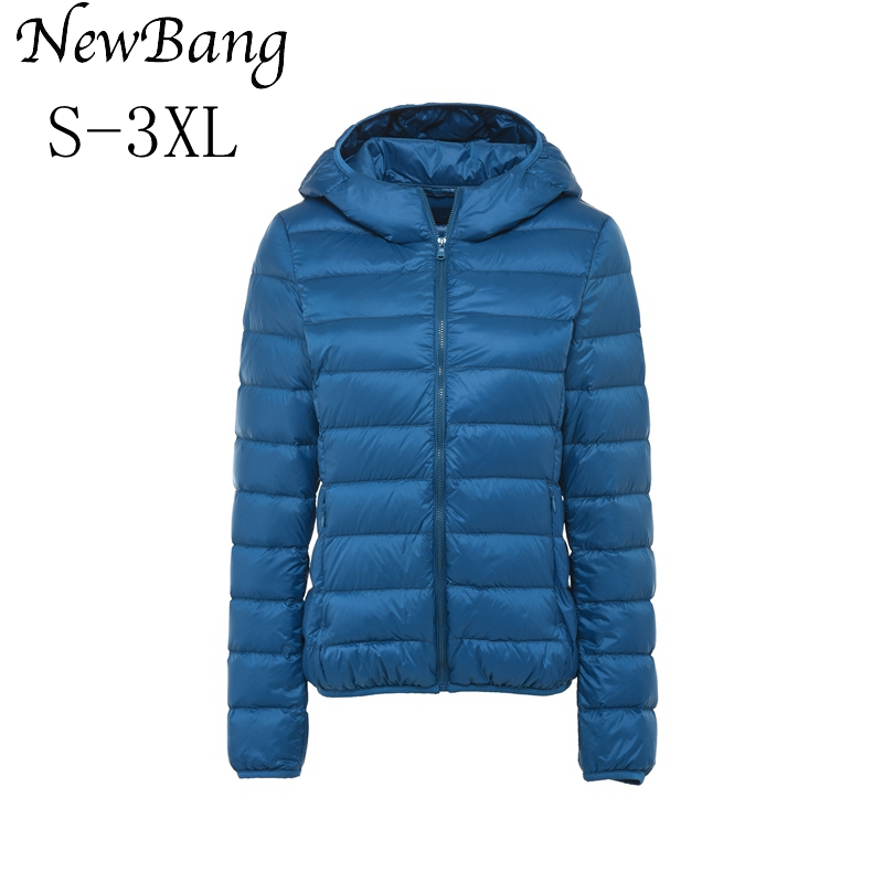 NewBang Multicolor Clothes Women Ultra Light Down Jacket Hooded Winter Coat Portable Parka Female Jackets With Carry Bag