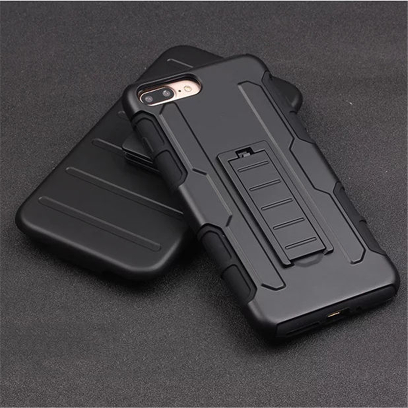 3 in 1 Cool Military Impact Rugged Hybrid Hard Plasitc Silicone Case For iphone 7 Plus Heavy Duty Kickstand Cover On 7 Plus capa
