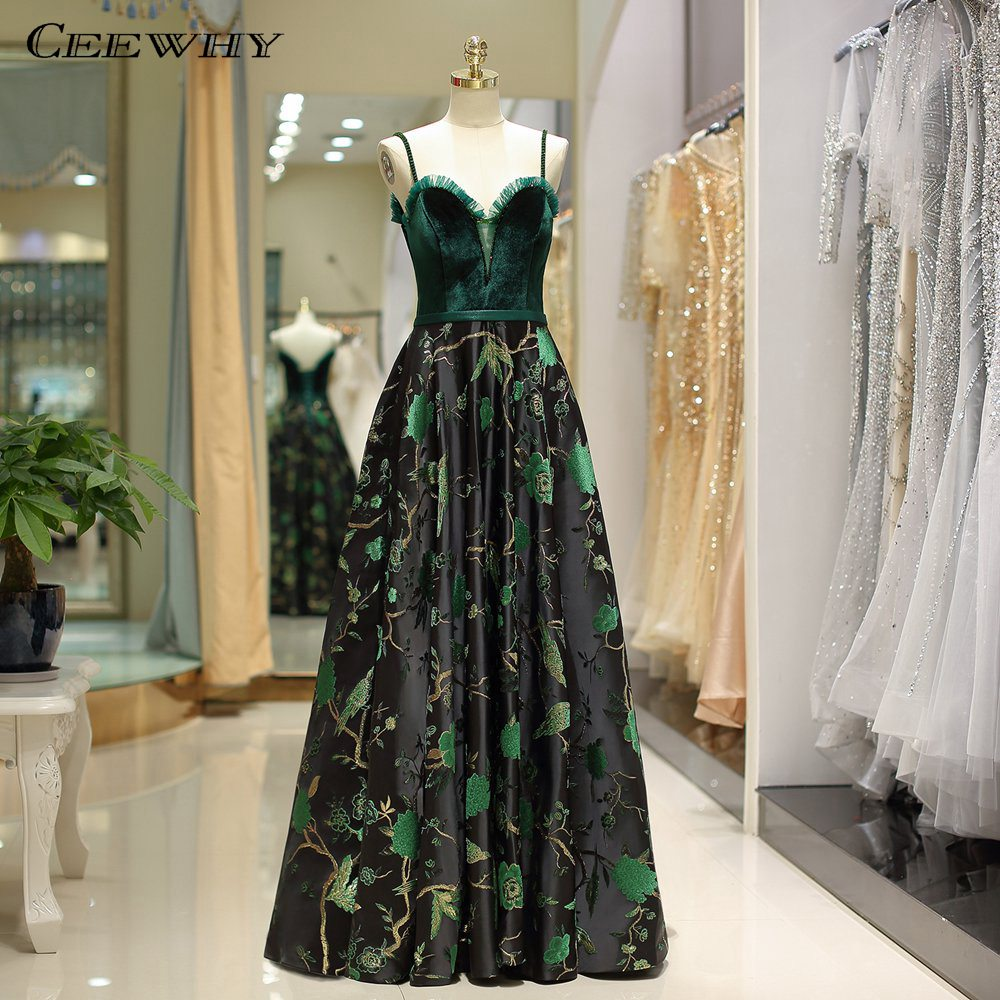 CEEWHY Off Shoulder Green   Evening   Gown Embroidery Prom   Dress   Vintage Dubai Turkey   Evening     Dresses   Beaded Robe de Soiree Abiye
