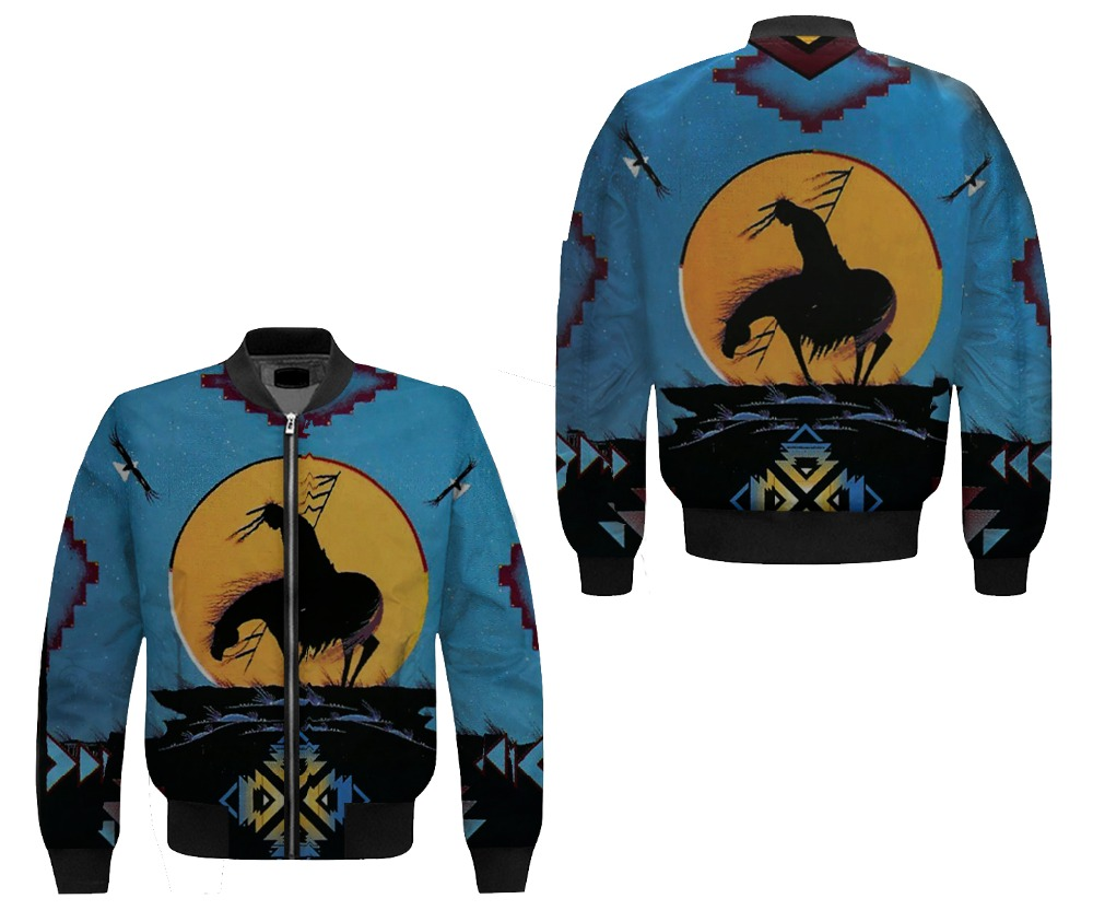 2019 new hot sale Man Bomber Jacket Over printed Ride Horse 3D over Printed Coat, Customize design, US size, fast shipping