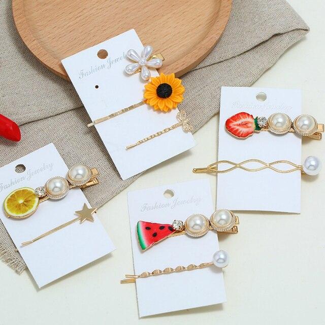Nuevo juego de horquillas de fruta personalizada sandía fresa flor flequillo Clip Ins mujeres accesorios para el cabello Barrettes perlas horquillas