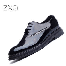 Luxury Brand Patent Leather Shoes Men Oxfords Bullock Formal Shoes Men Dress Wedding Shoes Size 38