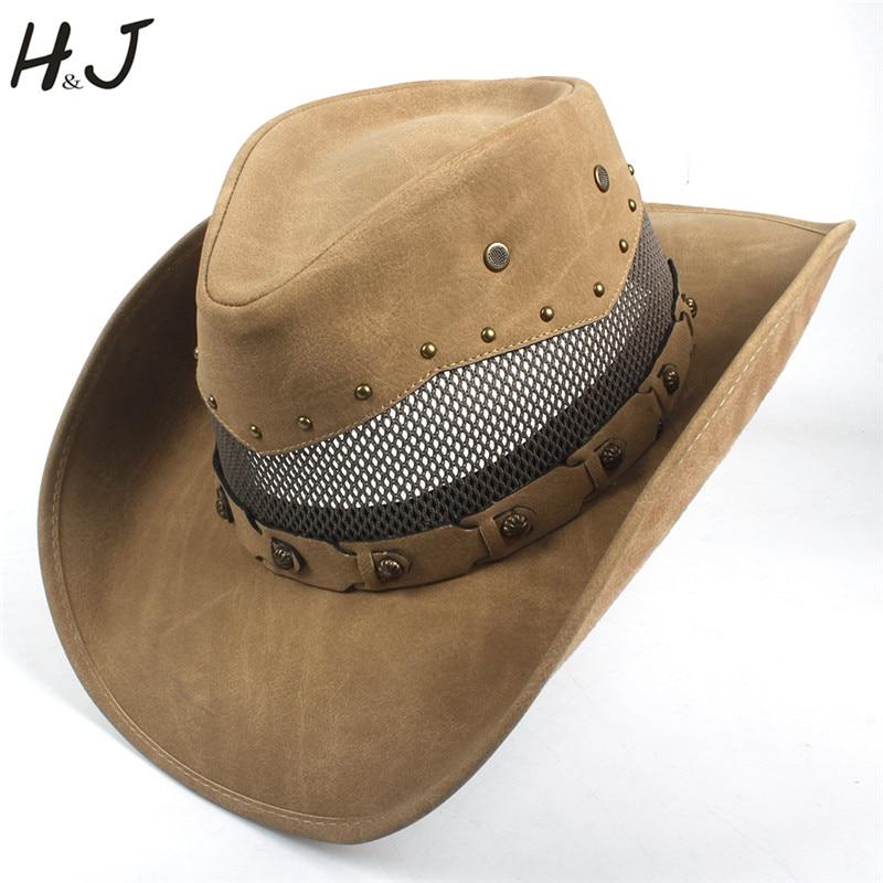 Fashion Men Western Cowboy Hat For Dad Gentleman 100 Leather Sombrero Hombre Jazz Caps Size 58